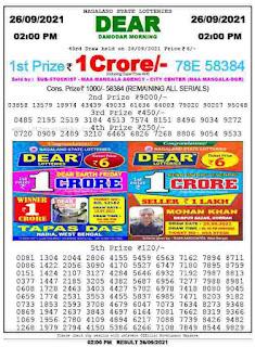 Lottery Sambad Today Sunday, September 26, 2021 1 pm result