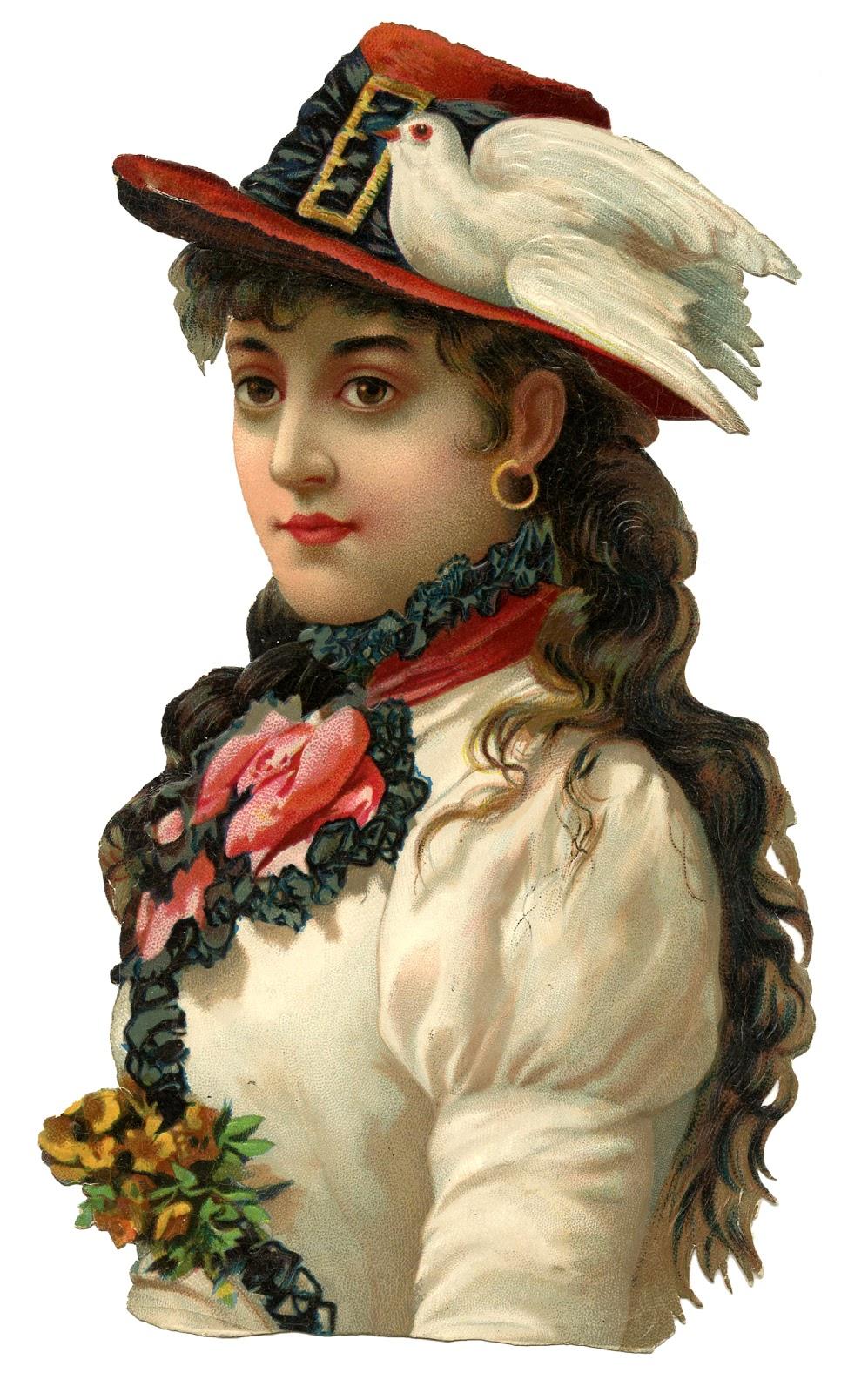 鳩の剥製が付いた赤い帽子を被ったジプシーの白い衣装の女性