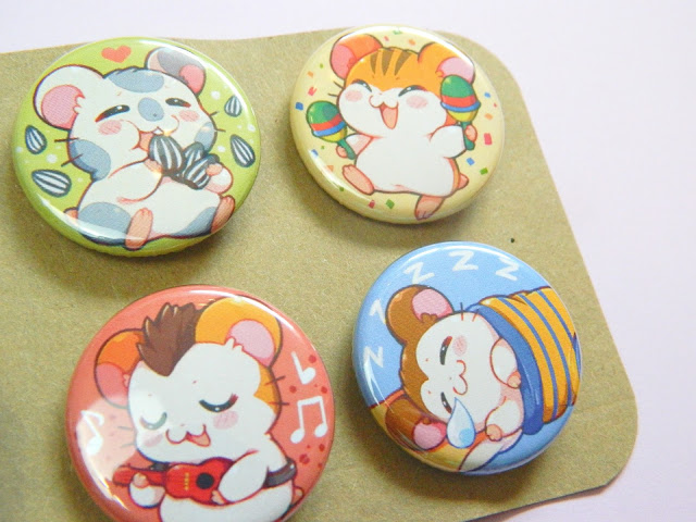 A set of Hamtaro (an anime) button badges made by Mi-eau