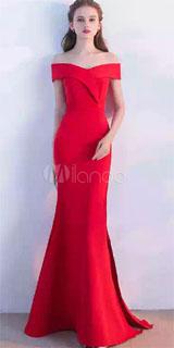 vestido rojo con hombros caidos sirena para navidad 2018
