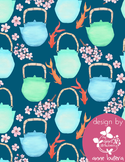 fabric design, surface pattern design, Spoonflower, Sprout Patterns, Japanese Garden Challenge, watercolor, teapots, koi, goldfish, cherry blossoms, Japanese Tea Garden, Anne Butera, My Giant Strawberry