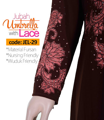 Jubah Umbrella Lace JEL-29 Brown Tangan 2