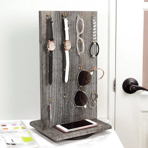 Wooden Rotating Two-Sided Jewelry Display Stand with 32 Hooks