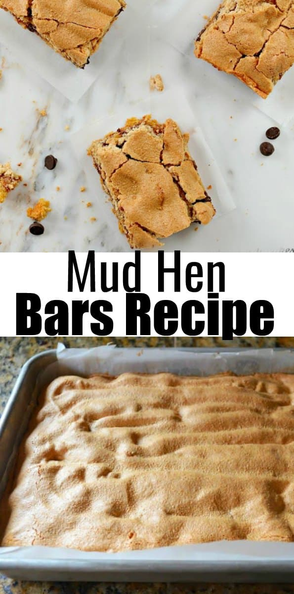 Mud Hen Bars recipe are a favorite dessert! These are a delicious cookie bar filled with chocolate chips, and marshmallows then covered with nuts. A family favorite dessert from Serena Bakes Simply From Scratch.