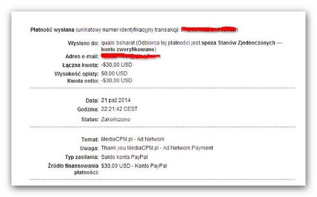 Paypal payment proof of mediacpm.pl
