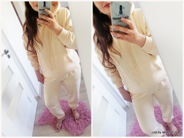 Cream Oversized Front Pocket Pullover Hoodie Cuffed Joggers Loungewear Set - Alexia