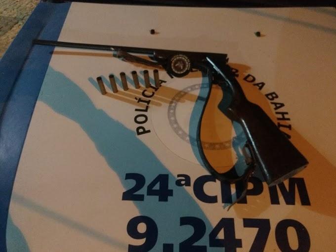 Policiais militares da 24ª CIPM apreendem arma de fogo em Ourolândia