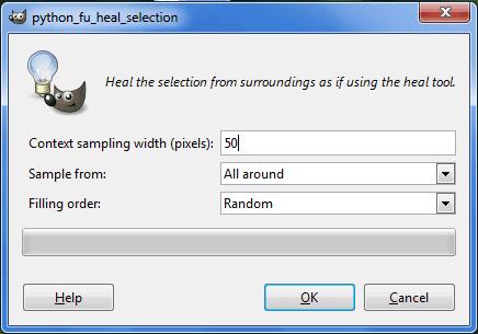 Gimp finestra regolazione valore filtro Heal selection