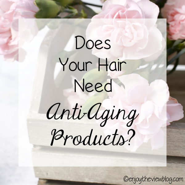 """infographic that says """"Does your hair need anti-aging products? """""""