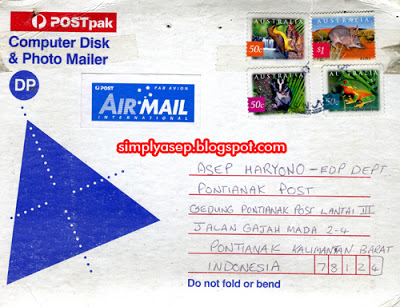 AUSTRALIA: Postcard from one of Australia's pen pals, Dave Fisher, who sent a CD of his song songs to me, Photo of Dok Asep Haryono