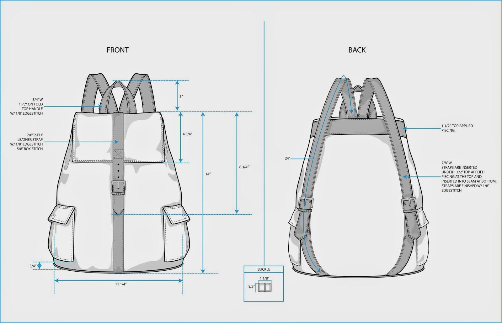 the spinsterhood diaries: sample fashion project: backpack ...  backpack purse diagram #9