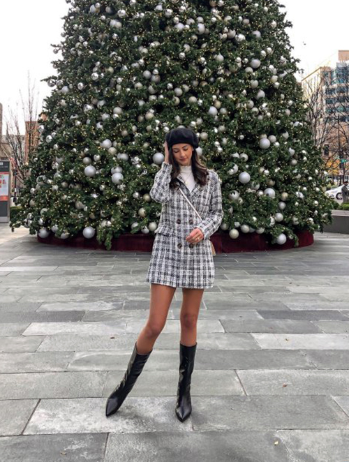 Wearing JustFab dress and boots