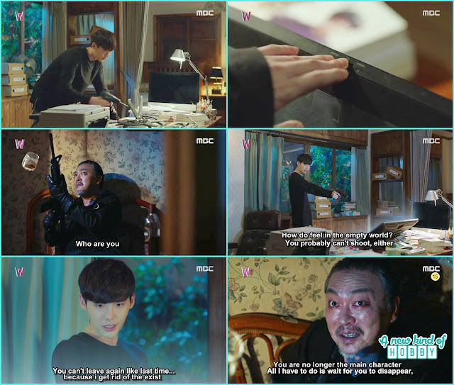 kang chul again join the tablet part and power on it to talk with the killer there he knew how killer stole writer sung moo face - W - Episode 12 Review