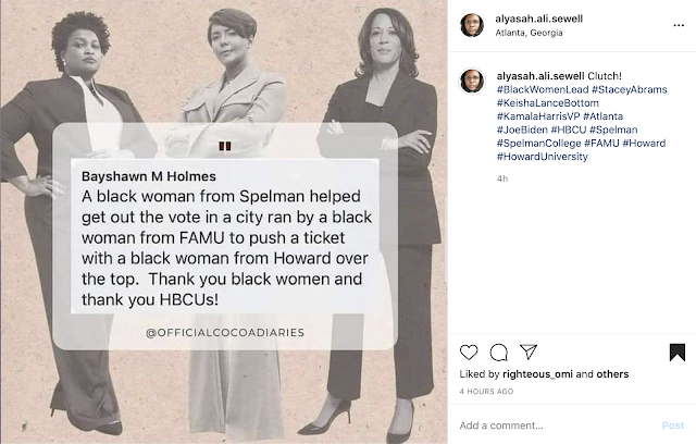 Stacey Abrams, Keisha Lance-Bottoms, and Kamala Harris pose for a picture that reads in transparent shape that they all graduated from HBCUs