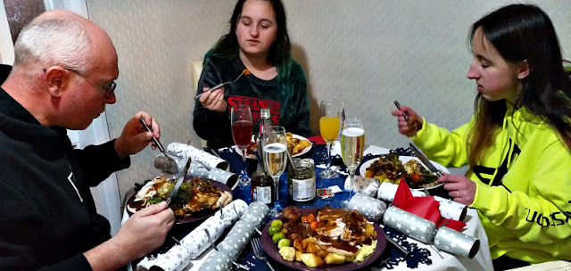 Eating Christmas dinner