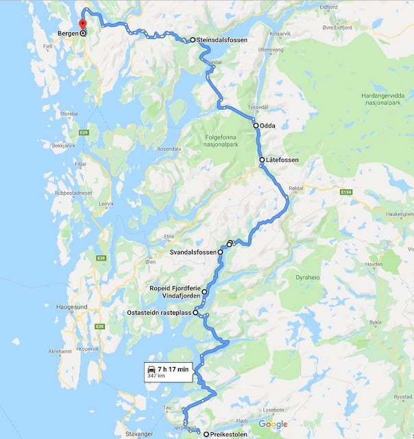 roteiro entre Preikestolen e Bergen