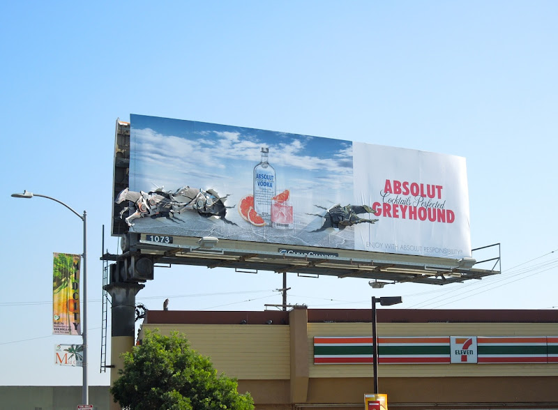 Absolut Greyhound dogs billboard installation LA