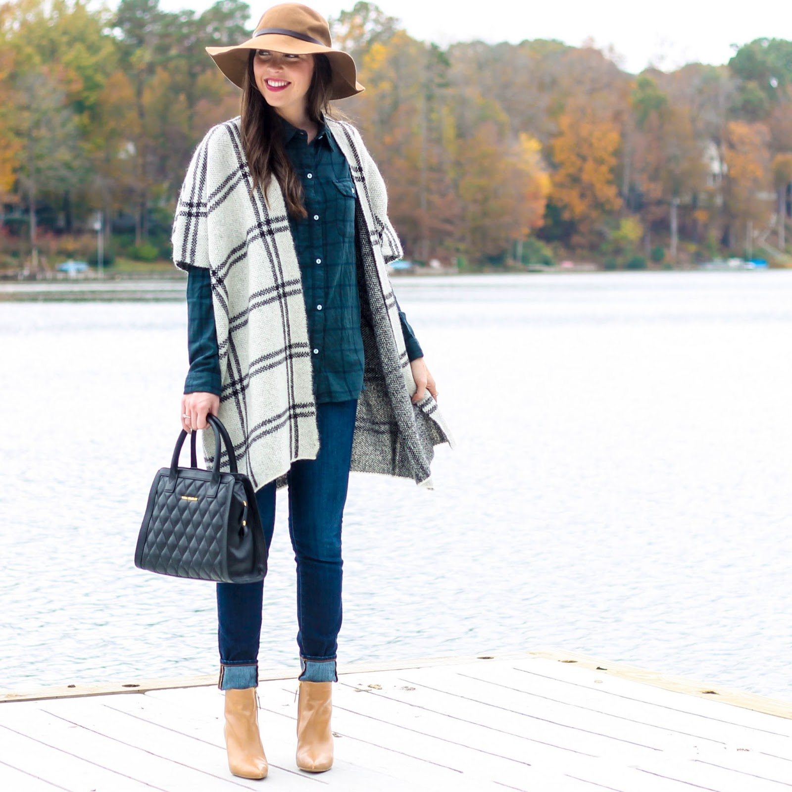 Plaid Shirt, Plaid Cape, Floppy Camel Hat, Fall Fashion, Fall Trends, Vera Bradley Quilted Natalie Satchel, Perfect Black Bag, Fall outfit, camel pointy toe booties, sam edelman booties, fall fashion, pretty in the pines, fashion blog, fashion blogger, lyon and post, sundry flannel, flannel shirts for women, thanksgiving outfit ideas, cute thanksgiving outfit