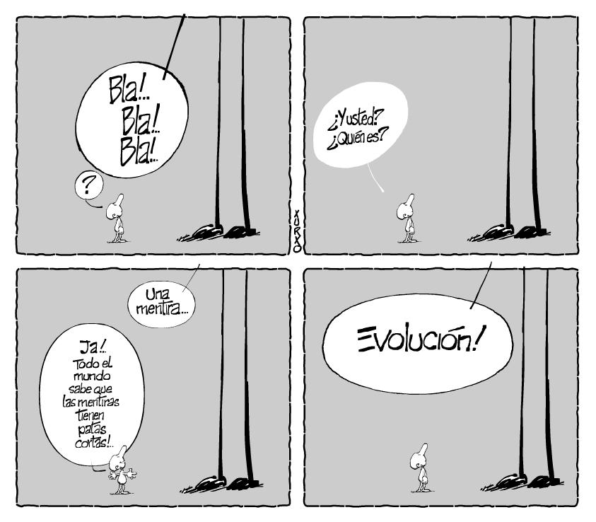 Viñeta humorístico sobre una interesante conversación entre dos seres desiguales