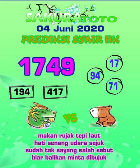 Prediksi HK Malam Ini 04 Juni 2020 - Sakuratoto
