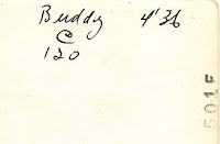 For comparison purposes. An inscription in the same handwriting as the appears on the back of a photo of Hazel Dixon. Buddy is a dog.