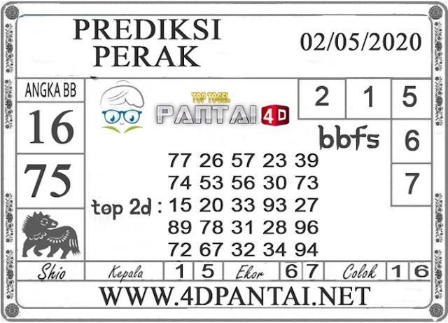 PREDIKSI TOGEL PERAK PANTAI4D 02 MEI 2020
