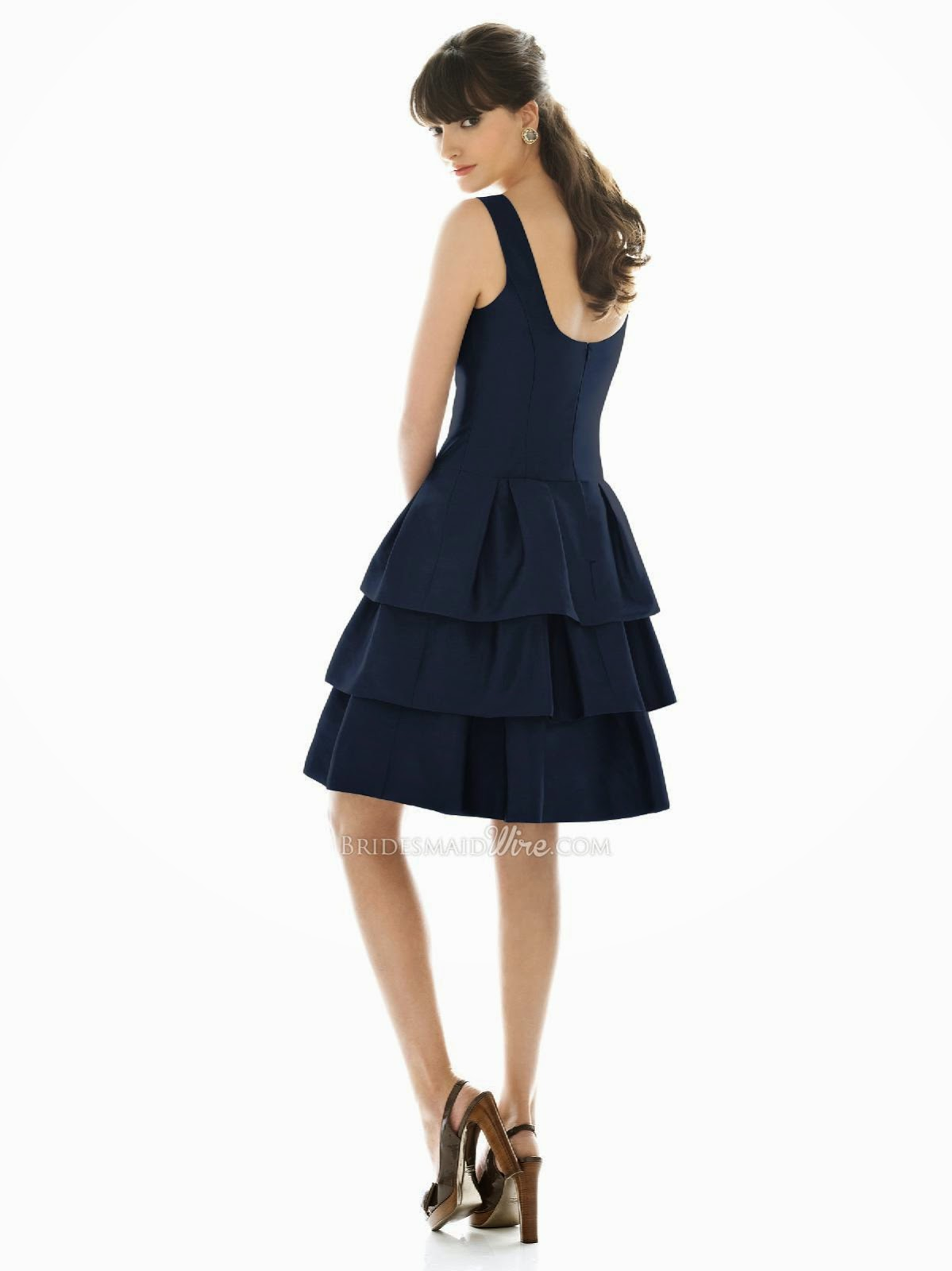 Midnight Tiered Cocktail Bridesmaid Dress with Boat Neckline Scoop Back-2