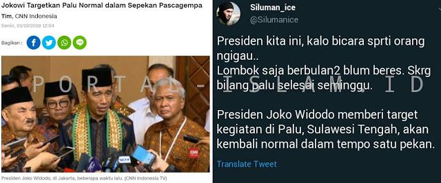 Jokowi Targetkan Palu Normal dalam Sepekan, Warganet: Ngigau!
