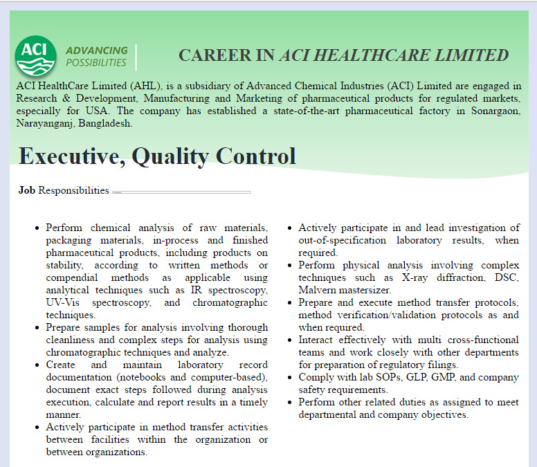 Aci Healthcare Limited Executive Quality Control Job Circular