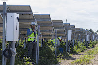 Workers put the final touches on Florida Power & Light's newest solar farm (Credit: Alfredo Solsa/Staff) Click to Enlarge.