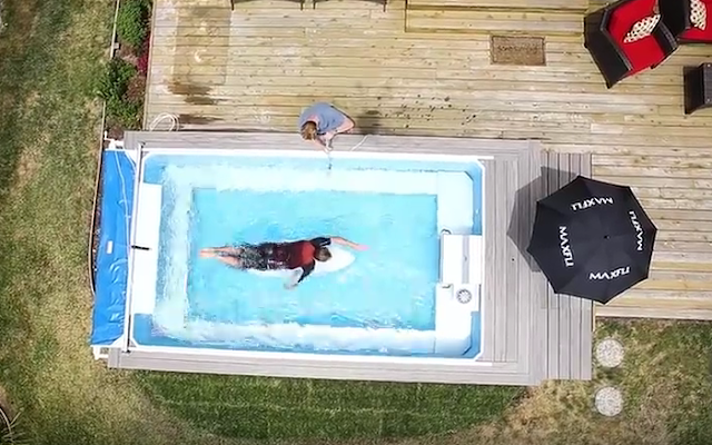 A drone photo of the High Performance Endless Pool at Rob Case's Surfing Paddling Academy