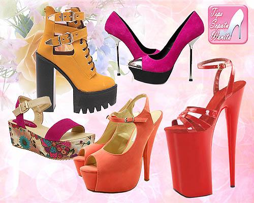 Beragam model sepatu wanita dengan tinggi heels yang berbeda