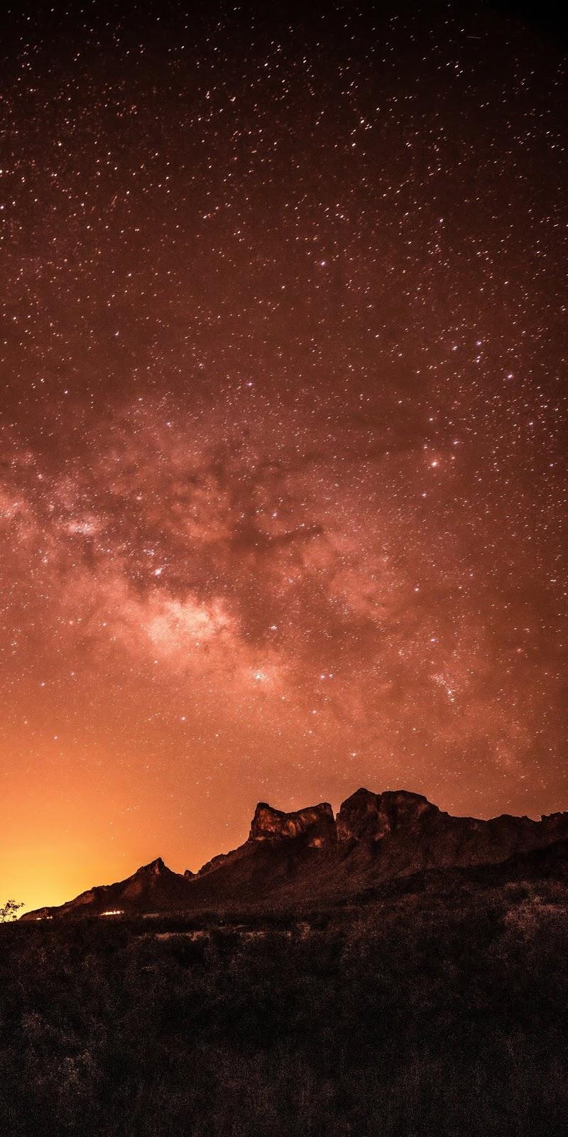 Orange night sky