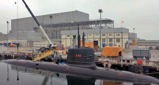 Submarino brasileño Riachuelo atracado en Itaguaí (Marihna Brasil).
