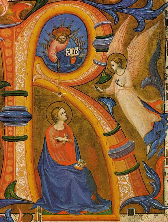 São Gabriel na Anunciação, Fra Angelico. Missal em San Marco, Florença.
