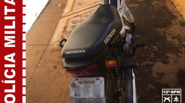 Polícia Militar recupera moto furtada em Catolé do Rocha