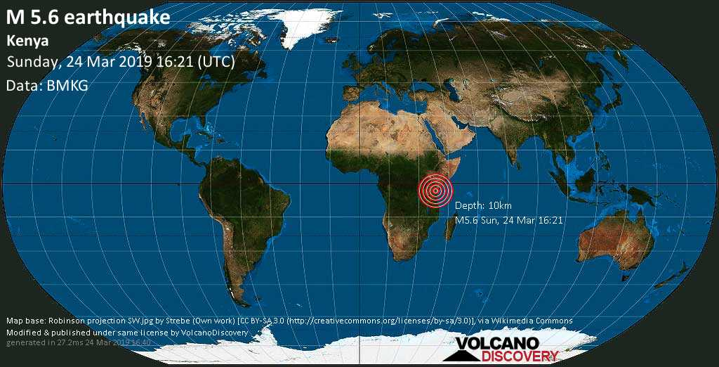 Kenya Hit By 5.6 Magnitude Earthquake At 7.23pm Sunday