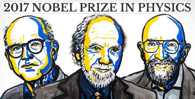 Tiến sĩ Rainer Weiss, Tiến sĩ Kip Thorne và Tiến sĩ Barry Barish, đã được trao giải Nobel Vật lý năm 2017 cho khám phá của mình về sóng hấp dẫn. Đồ họa: NobelPrize.org.