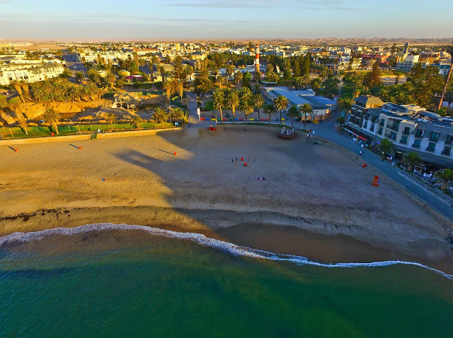 Swakopmund, Namibia: aerial photo of town beach and Strand Hotel