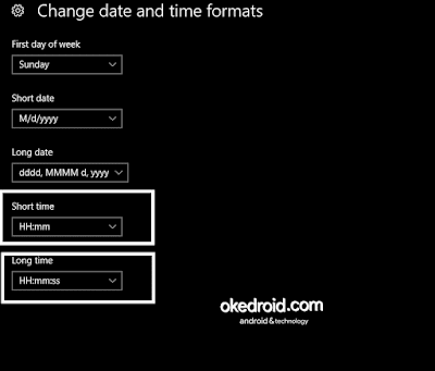 Change date and time formats Windows 10