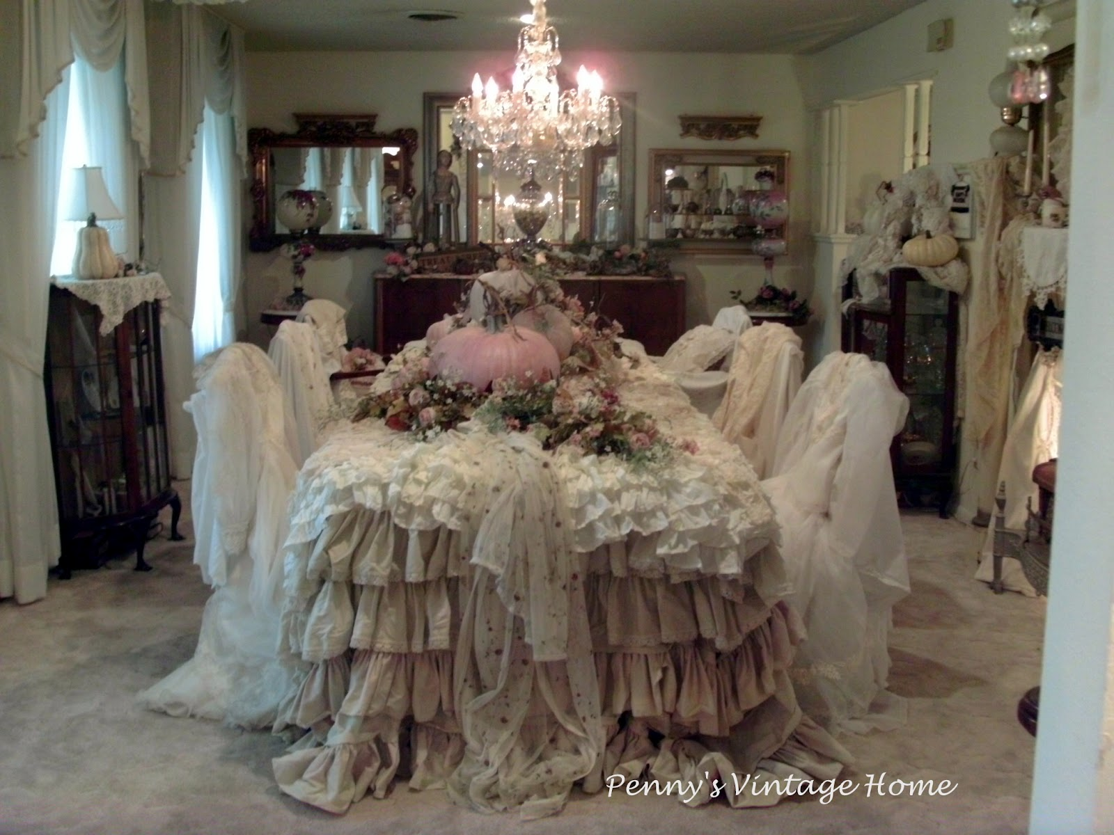 Pink And White Fall Decor At Penny S Vintage Home