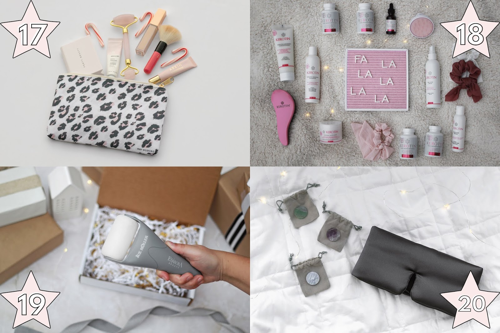 unique affordable holiday gift ideas for her, may designs leopard zipper pouch gift idea for her, kerotin haircare best haircare products gift ideas for her, ice roller amazon gift idea for her, baloo living chakra sleeping mask with stones gift idea for her, holiday christmas gift ideas for her
