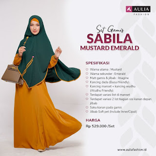 Koleksi Gamis Syari Muslimah Sabila Mustard Emerald Series Set Syari by AULIA Fashion