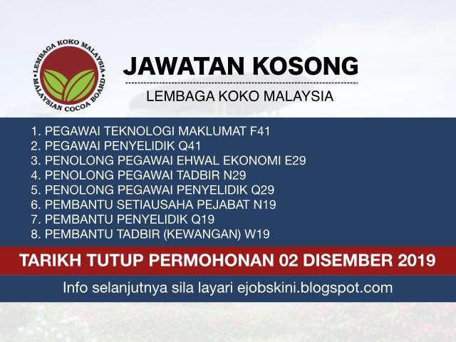 Jawatan Kosong Lembaga Koko Malaysia Tarikh Tutup 02 Disember 2019