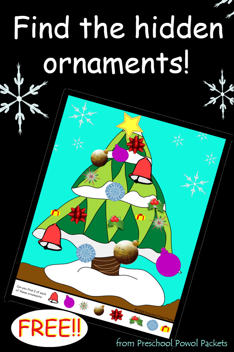 FREE} Preschool Christmas Printable: Hidden Ornaments | Preschool ...