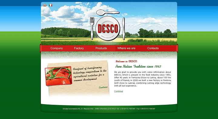 Picture to Italian food exporter company named Desco Spa