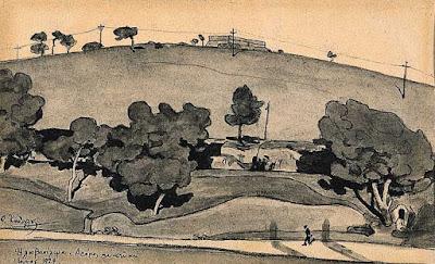 Σχέδιο του Φ. Κόντογλου «Ηλιοβασίλεμα Δρόμος» Ιούνιος 1924