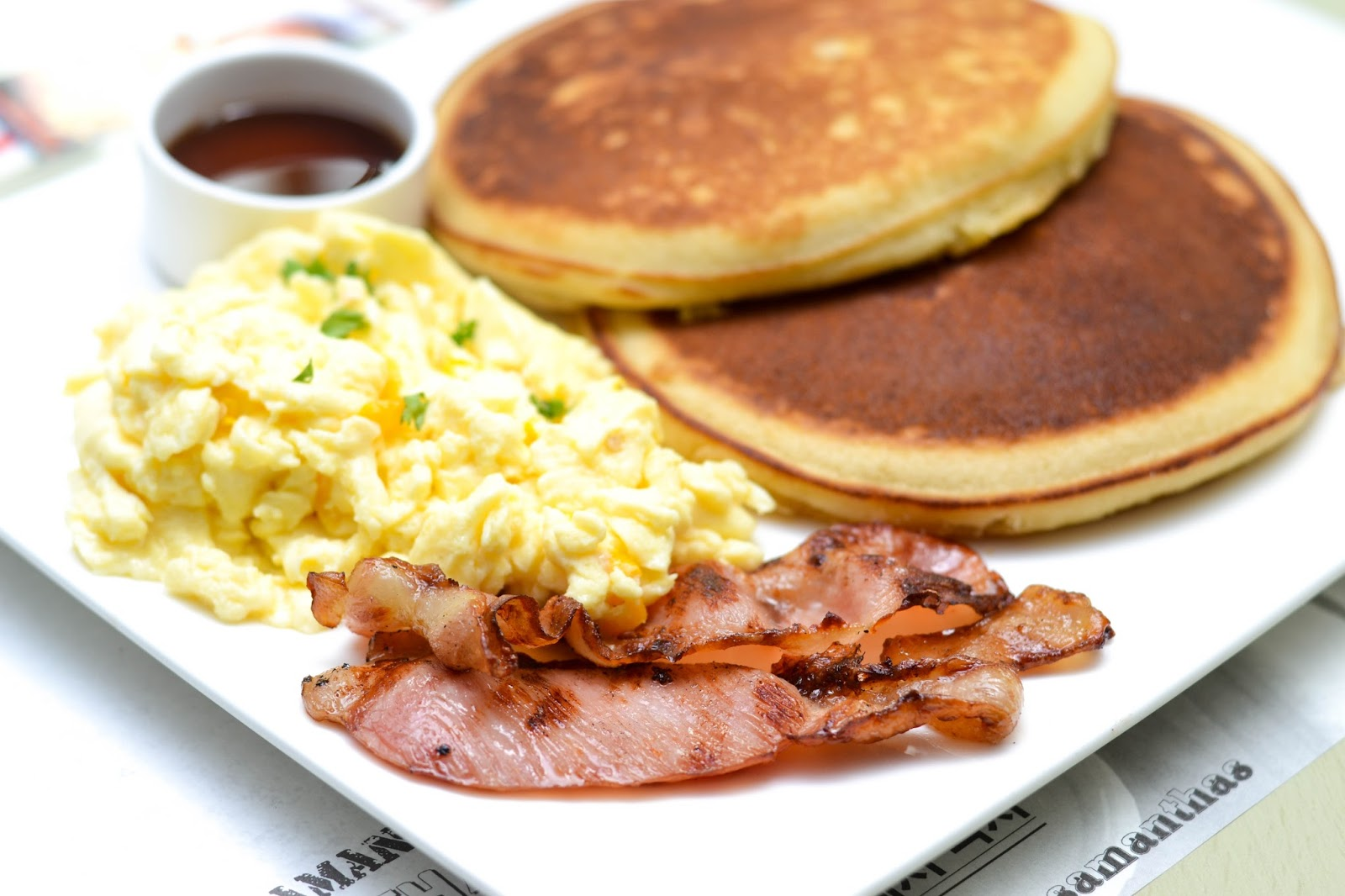 Bacon, Pancakes and Scrambled Eggs