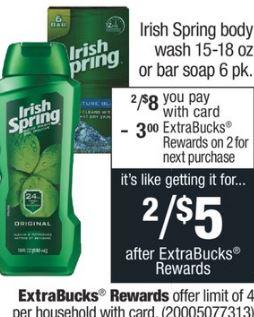 Irish Spring Body Wash CVS Deal $0.75 12/8-12/14