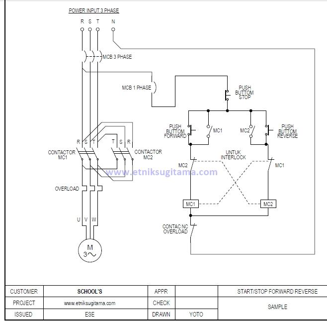 Etnik Sugitama  Gambar Diagram Rangkaian Motor 3 Phase Pembalik Putaran Forward Reverse Atau